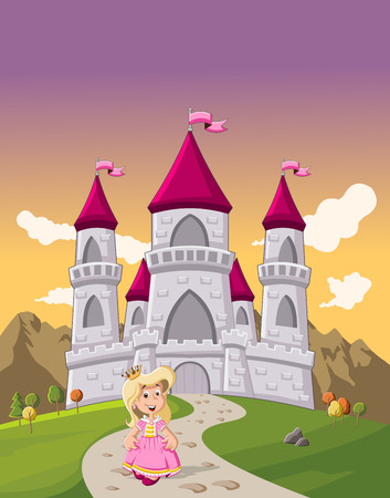 Cute cartoon princess girl in front of a fairy tale castle Stock Illustratie