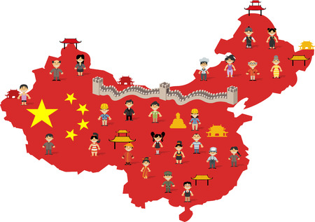 China map with chinese happy cartoon people