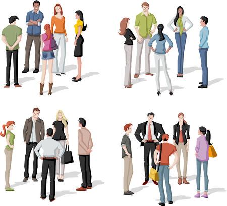 escuela caricatura: Gran grupo de personas reuni�n. Reuni�n.