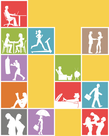 Silhouette of people inside blocks on different activities Vector