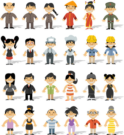 Group of chinese happy cartoon people Vector