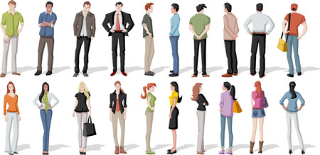working dress: Large group of cartoon young people