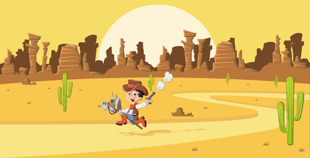 Cartoon cowboy kid galloping on Wild west Çizim
