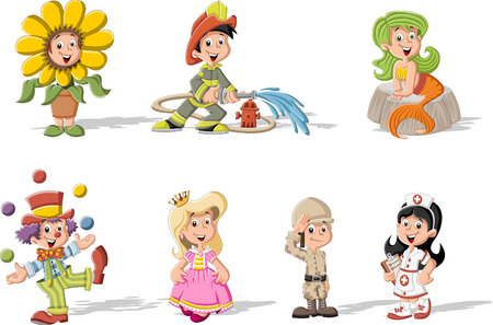 character: Group of cartoon kids wearing different costumes