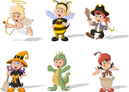 cute dinosaur: Group of cartoon kids wearing different costumes