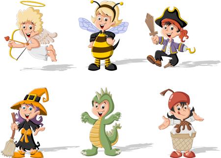 dinosaurio: Grupo de niños de dibujos animados vistiendo trajes diferentes