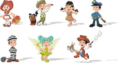 Grupo de miúdos dos desenhos animados que veste trajes diferentes