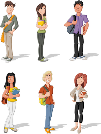 Group of cartoon young students. Teenagers. Vector