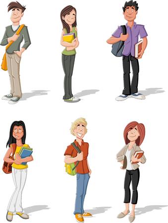 Grupo de dibujos animados jóvenes estudiantes. Adolescentes.
