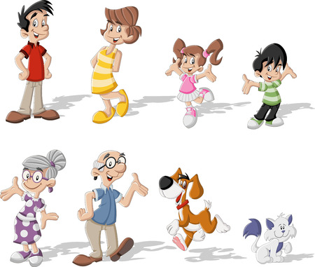 old people smiling: Colorful cute happy cartoon family with pets Illustration