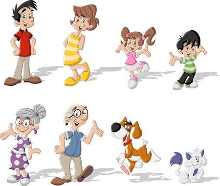 Familia feliz lindo colorido de dibujos animados con mascotas Foto de archivo - 33211326