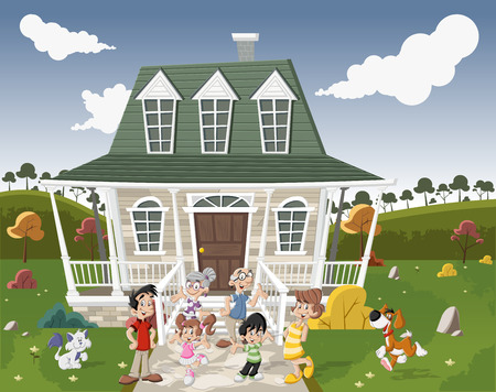 Happy cartoon family with pets in front of a country house in suburb neighborhood. Vector