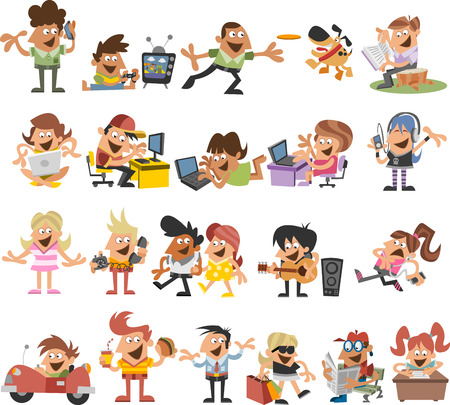 people laptop: Group of cute happy cartoon people