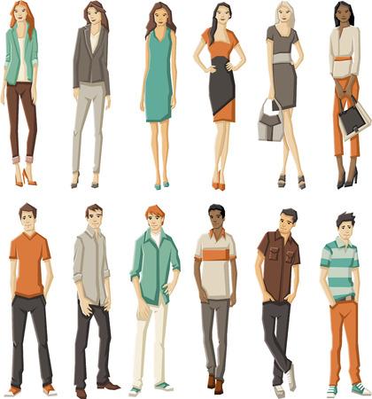 ファッション漫画若い人たちのグループ  イラスト・ベクター素材