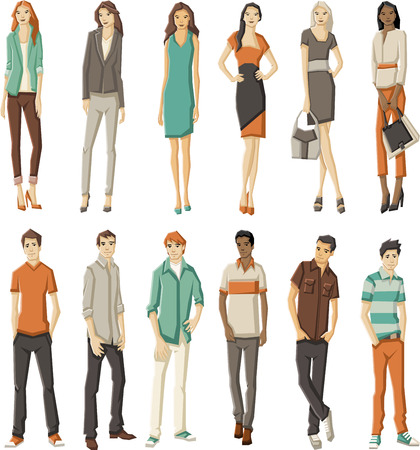 happy people faces: Group of fashion cartoon young people