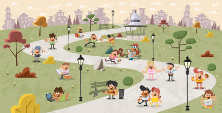 city park: Group of cute happy cartoon people in the park