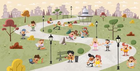 perro familia: Grupo de gente de dibujos animados lindos felices en el parque