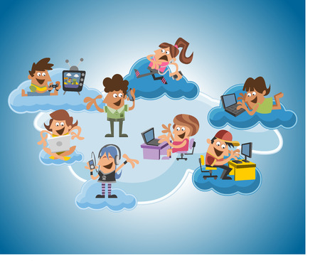 family and friends: Group of cute happy cartoon people over cloud computing Illustration