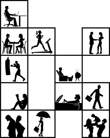 elderly exercise: Silhouette of people inside blocks on different activities