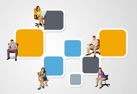 office chairs: colorful template for advertising brochure with people on chair