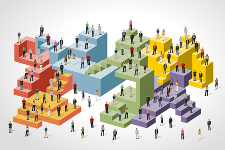 Business people over colorful blocks Ilustração