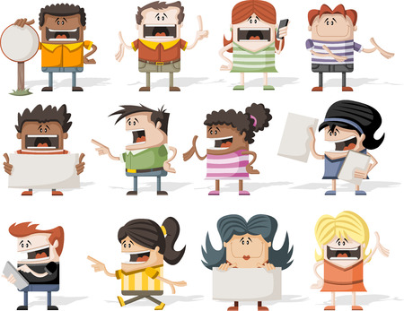 youthful: Colorful group of happy cartoon people Illustration