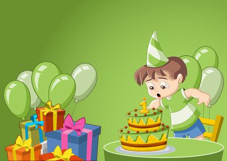 cartoon birthday cake: Cartoon boy having fun at birthday party Illustration