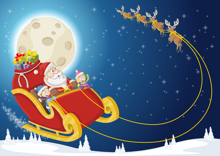 Santa Claus and children on sleigh with reindeer flying on Christmas night Illustration