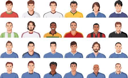 maniaco: Grande gruppo di facce calciatore. Maglia Calcio uniforme.
