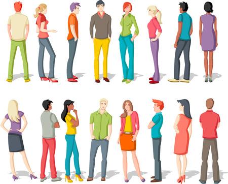 nene y nena: Grupo grande de gente joven de dibujos animados Vectores