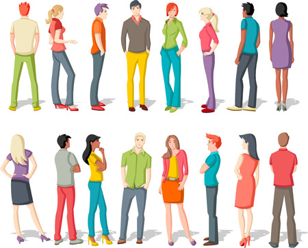 cool girl: Large group of young people cartoon