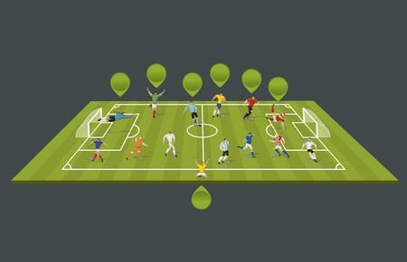 kicking ball: Los jugadores de f�tbol pateando pelota en el campo. Futbolistas.
