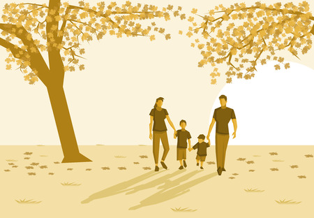 maniaco: Family in the park on autumn Vettoriali