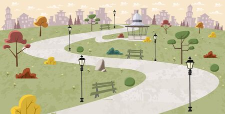 green park: Road on green park with trees Illustration