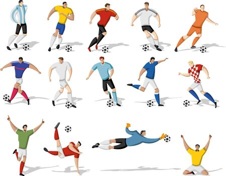 kicking ball: Los jugadores de f�tbol pateando pelota. Futbolistas.