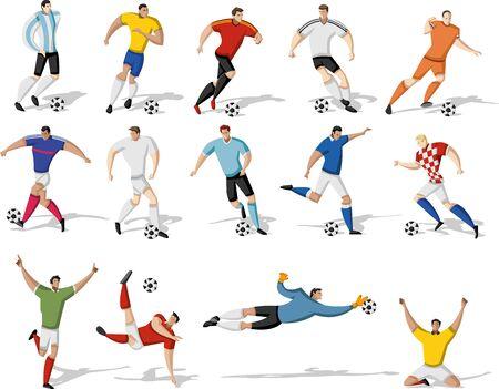 kicking: Soccer players kicking ball. Football players.