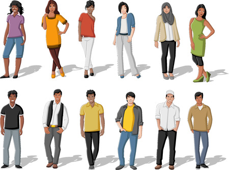 Group of cartoon young people Vector