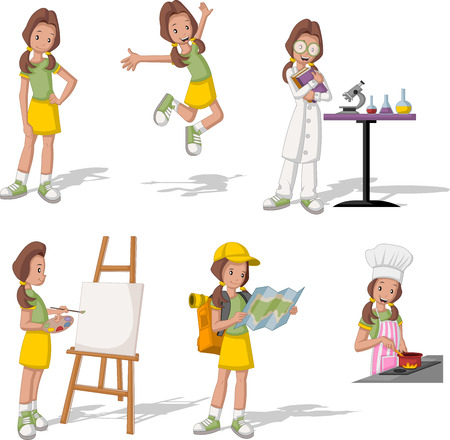 beautiful girl cartoon: Cartoon teenage girl in different activities.