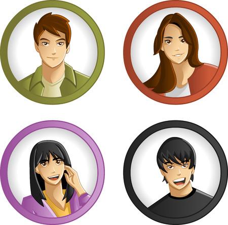 maniaco: Gruppo di cartone animato i giovani. Adolescenti.