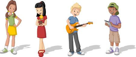 niño y niña: Grupo de jóvenes de dibujos animados. Adolescentes.