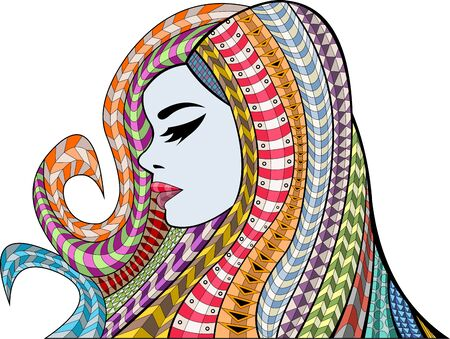 face covered: Beautiful woman with colorful hair. Exotic girl.