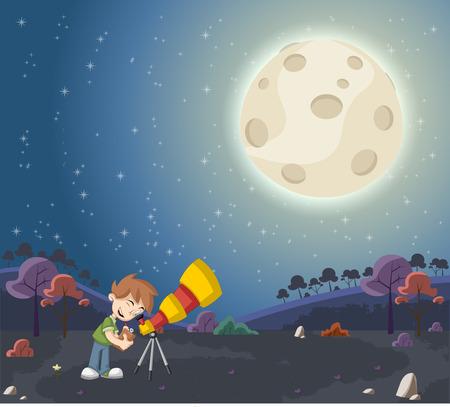 luna caricatura: Niños de dibujos animados utilizando un telescopio para mirar la luna