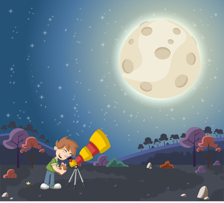 Cartoon boys using a telescope to look at the moon