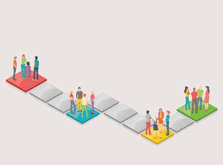 executive board: Board game with people over blocks