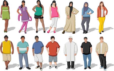 mujeres gordas: Grupo de grasa de dibujos animados jóvenes