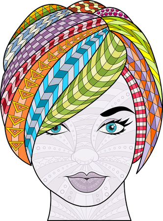 exotic woman: Beautiful woman with colorful short hair. Exotic girl.