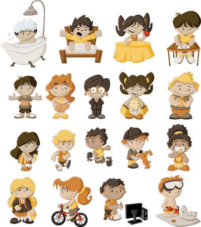 kid vector: Grupo de niños felices jugando animados