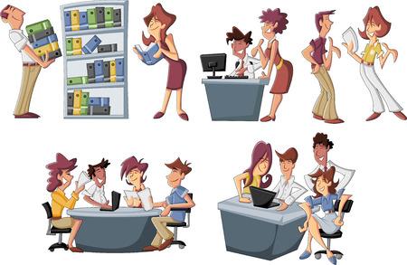 ejecutivo en oficina: La gente de negocios de dibujos animados feliz trabajando en la oficina