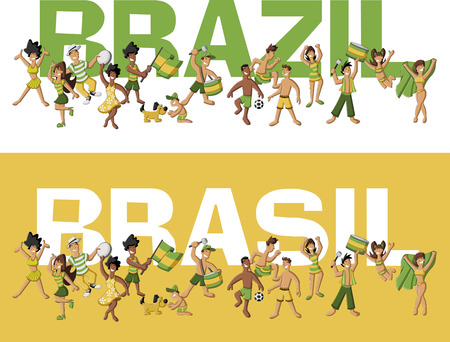 Group of cartoon brazilian people having fun Illustration