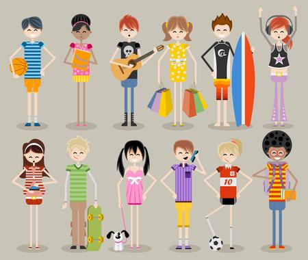 baloncesto chica: Grupo de j�venes de dibujos animados. Adolescentes frescos.